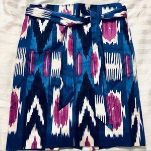 Talbots petite midi-skirt w belt blue/ purple 4P